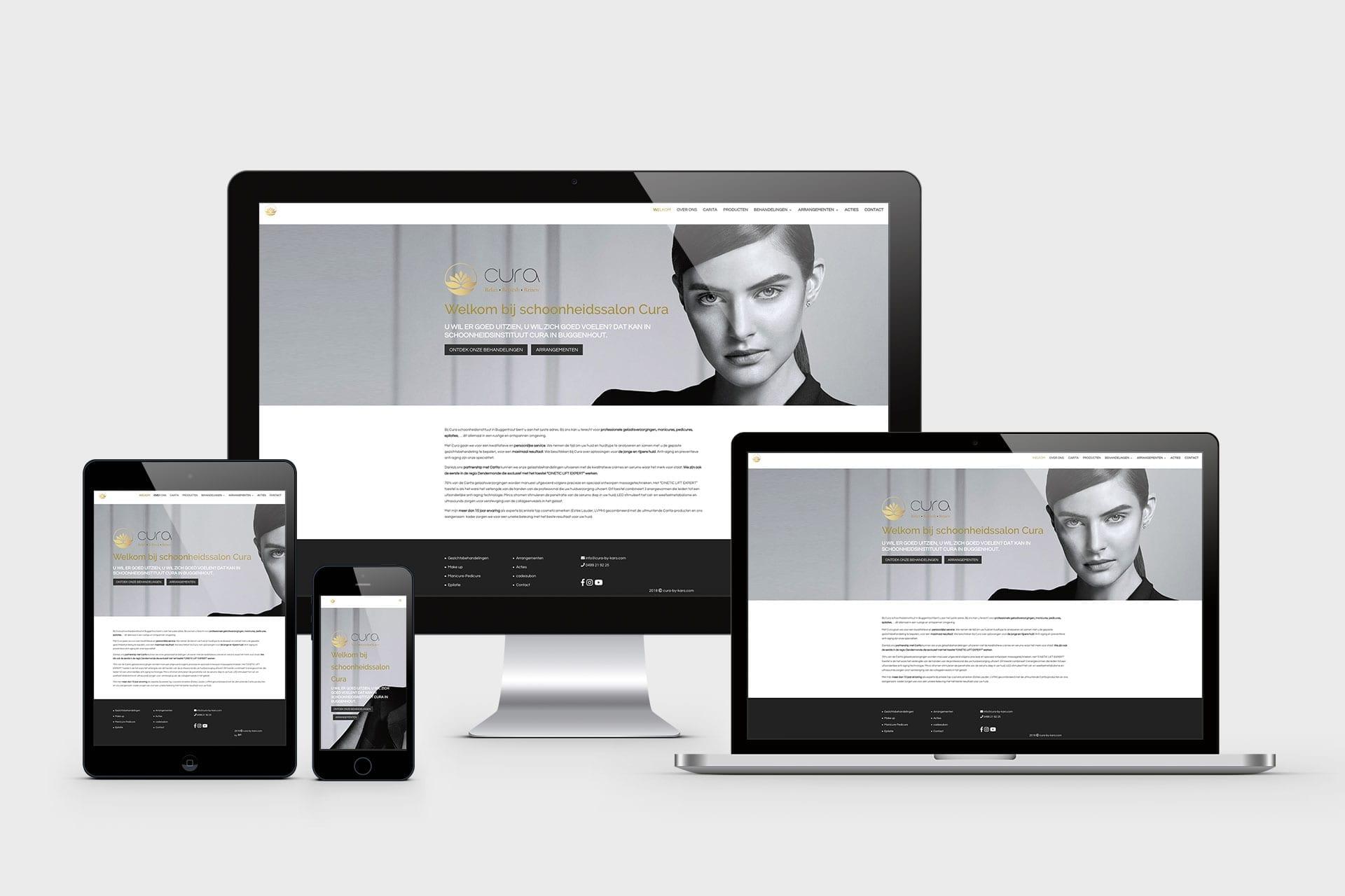 responsive webdesign voor schoonheidsalon Cura